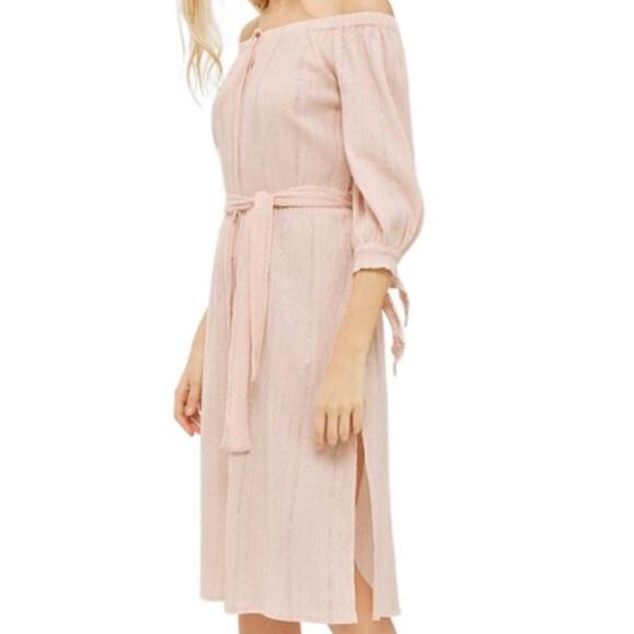 43fda0e32a09 Topshop Dresses | Pink Lurex Off The Shoulder Dress Nwt | Poshmark